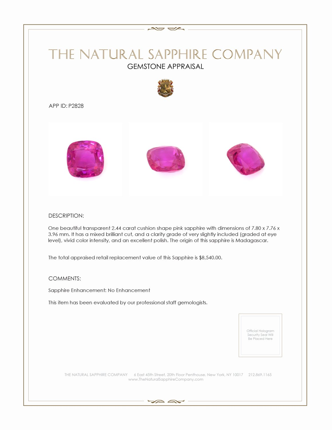 Natural Untreated Pink Sapphire P2828 Certification 4
