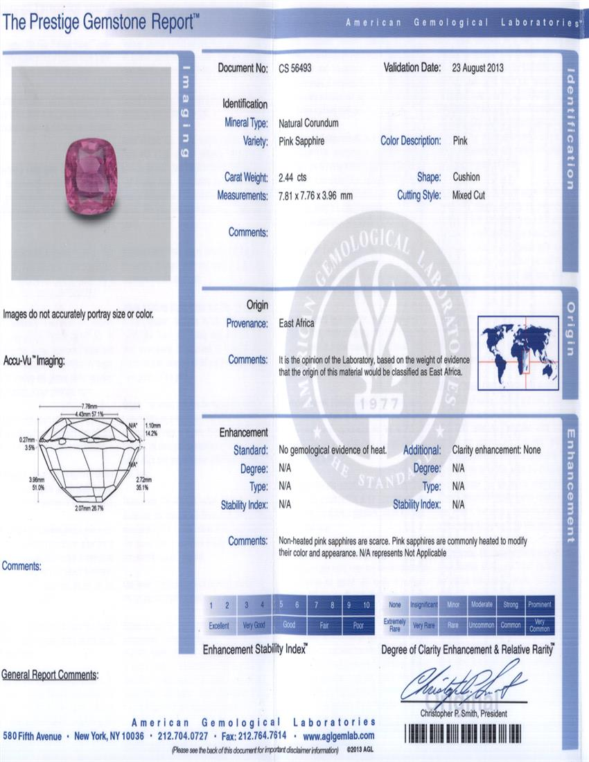 Natural Untreated Pink Sapphire P2828 Certification 3