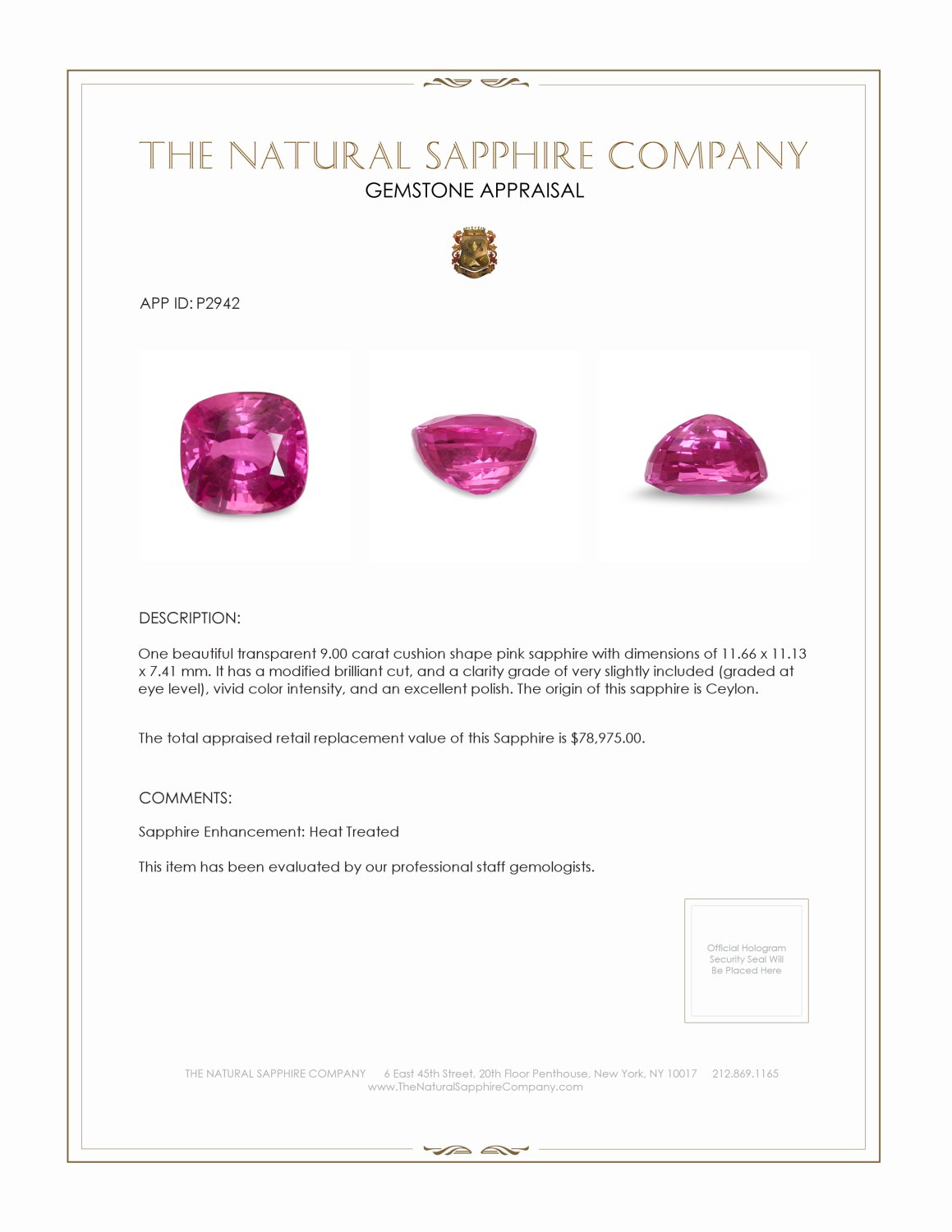 Natural Pink Sapphire P2942 Certification 4