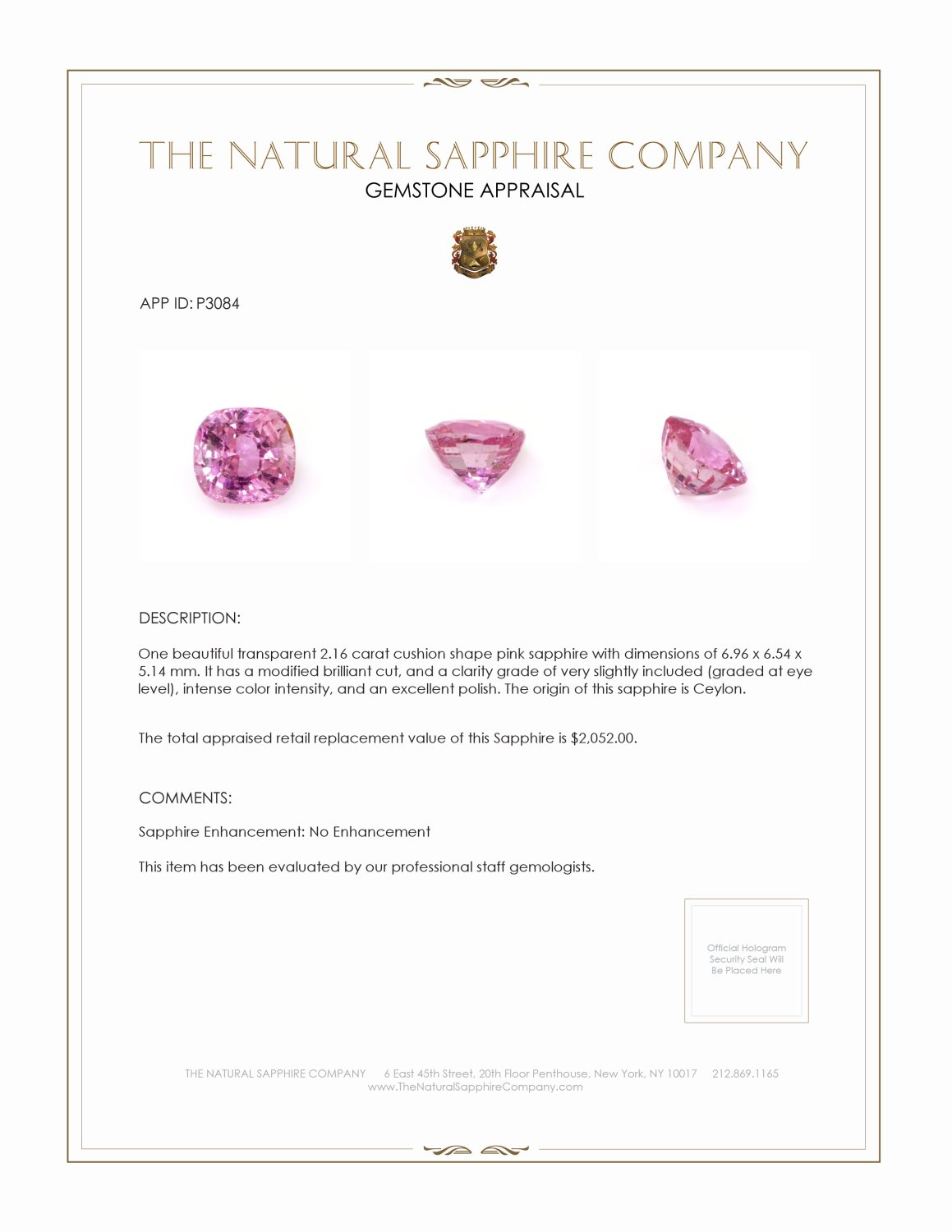 Natural Untreated Pink Sapphire P3084 Certification 4