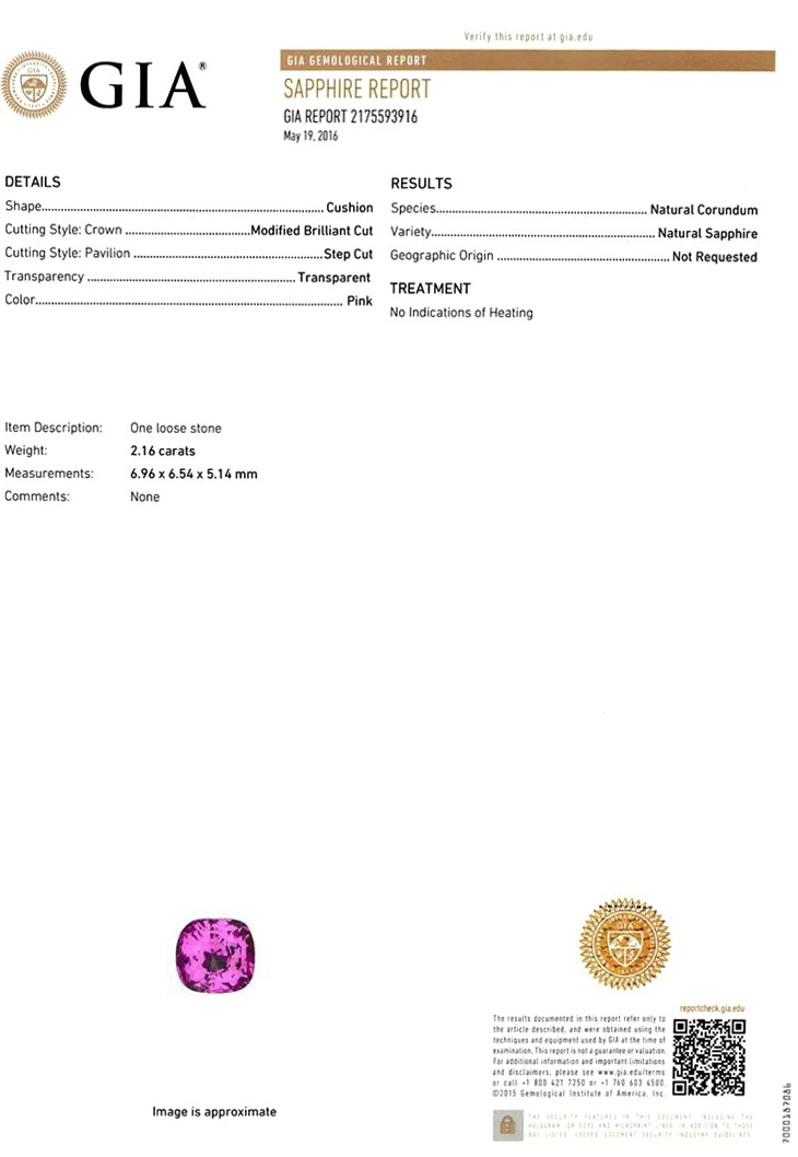 Natural Untreated Pink Sapphire P3084 Certification 3