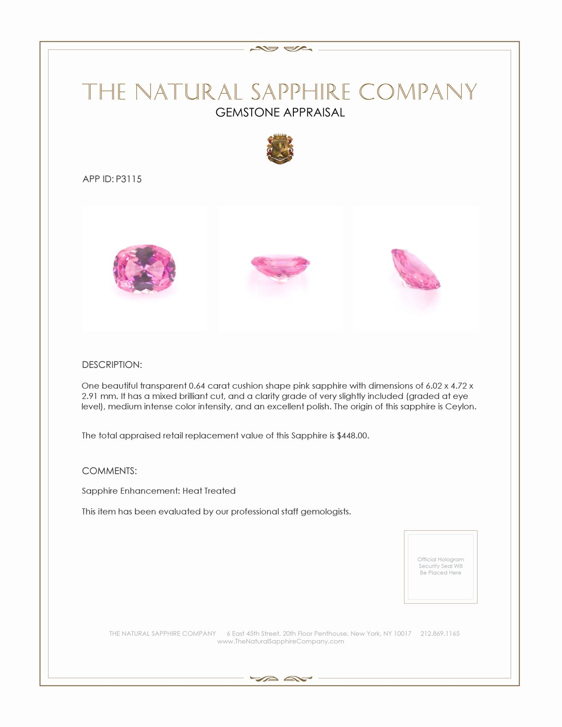 Natural Pink Sapphire P3115 Certification 3