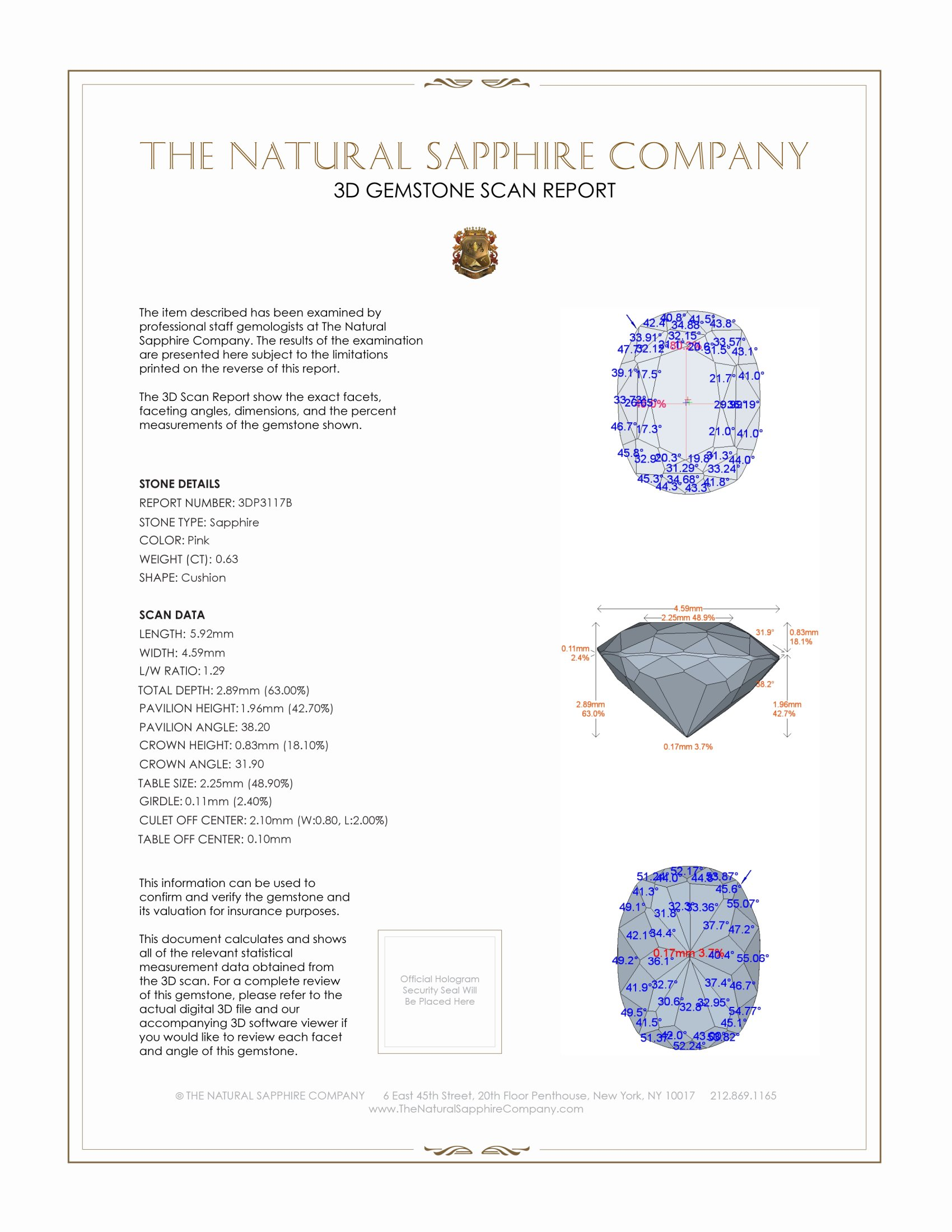 Natural Untreated Pink Sapphire P3117 Certification 2