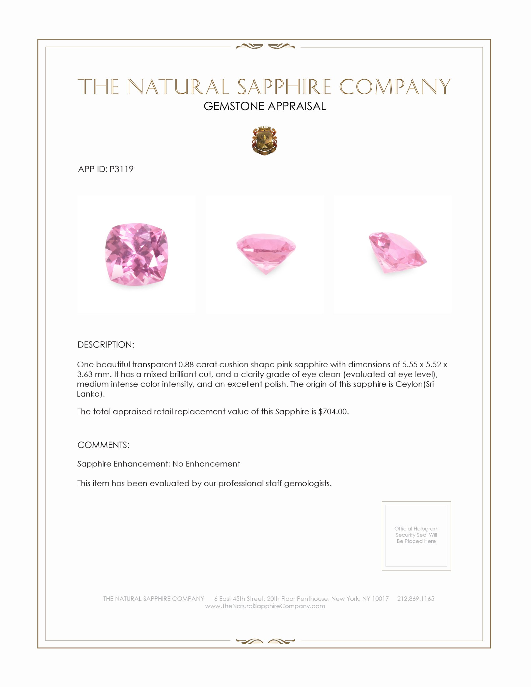 Natural Untreated Pink Sapphire P3119 Certification 3
