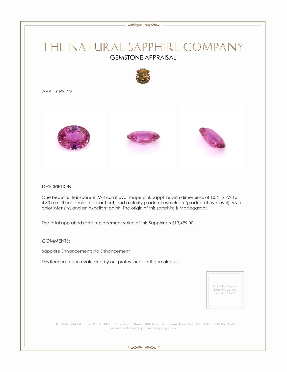 Natural Untreated Pink Sapphire P3122 Certification 4