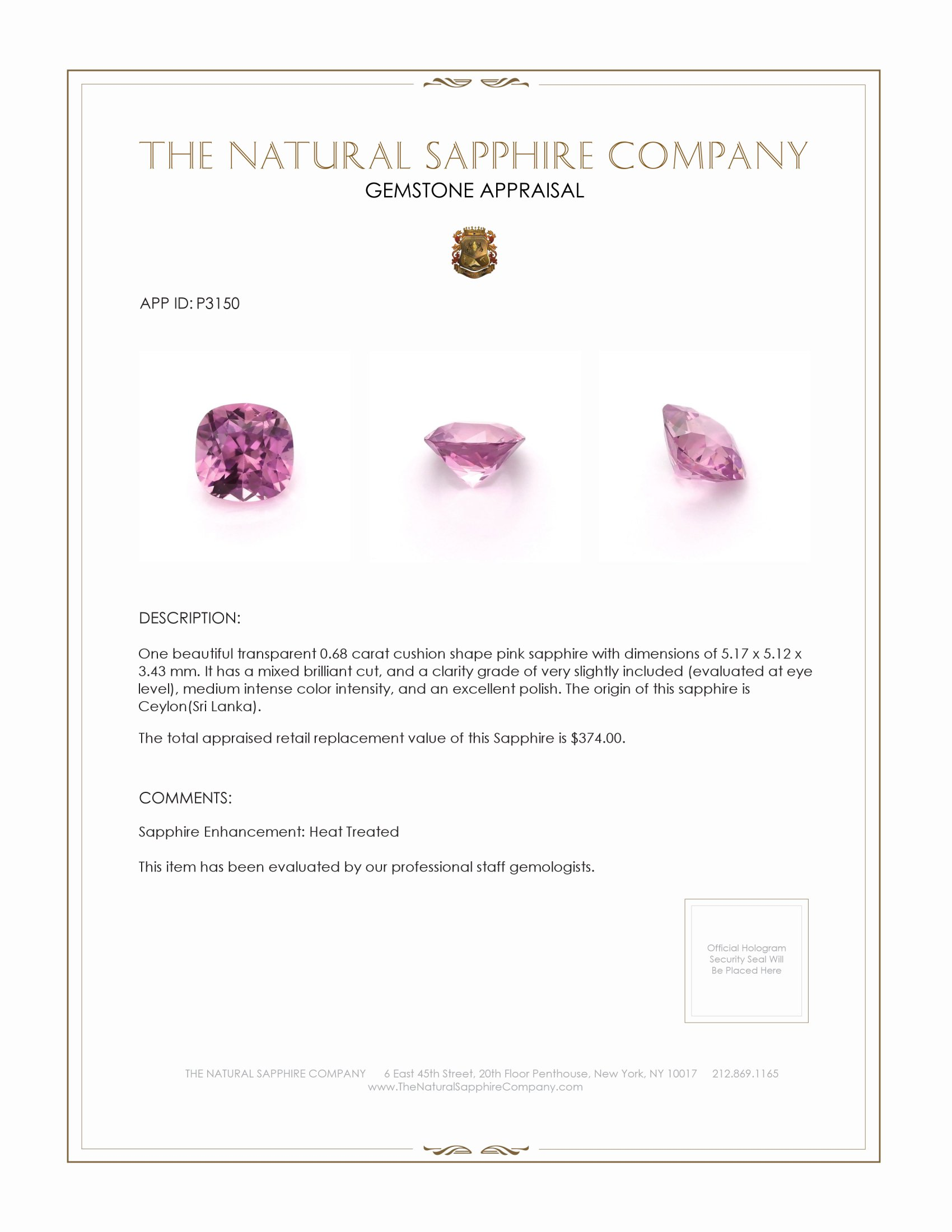 Natural Pink Sapphire P3150 Certification