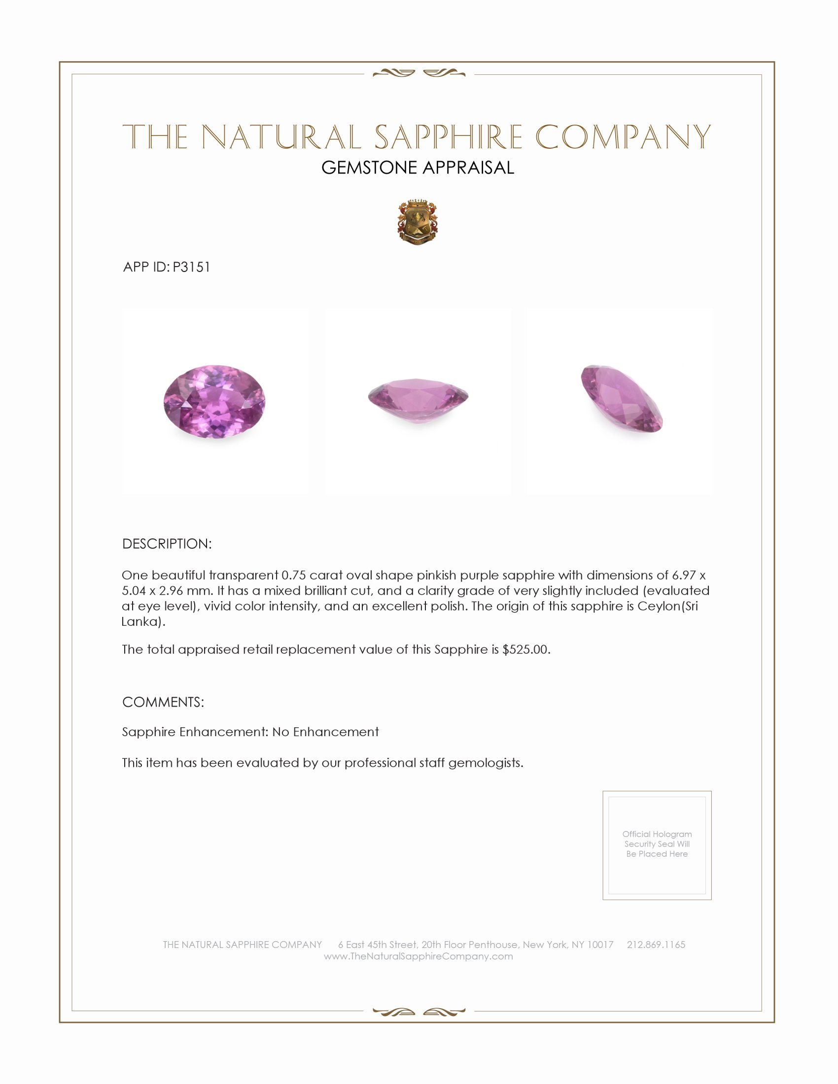 Natural Untreated Pink Sapphire P3151 Certification 3