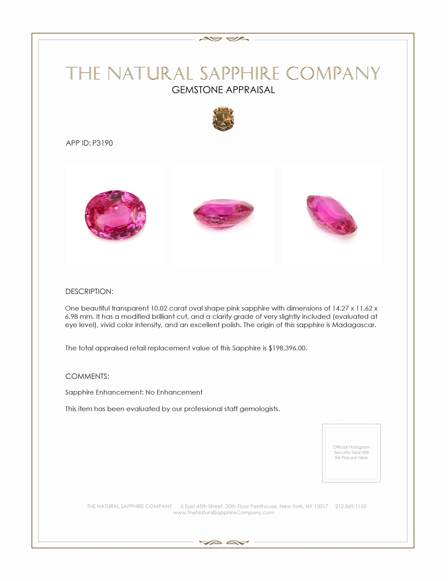 Natural Untreated Pink Sapphire P3190 Certification