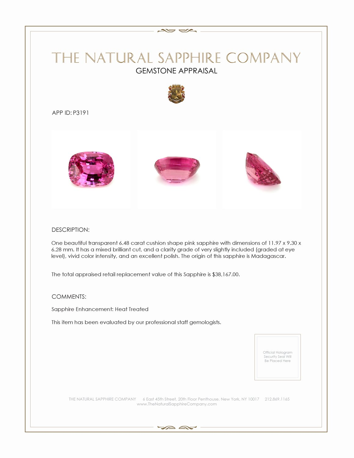 Natural Pink Sapphire P3191 Certification 4