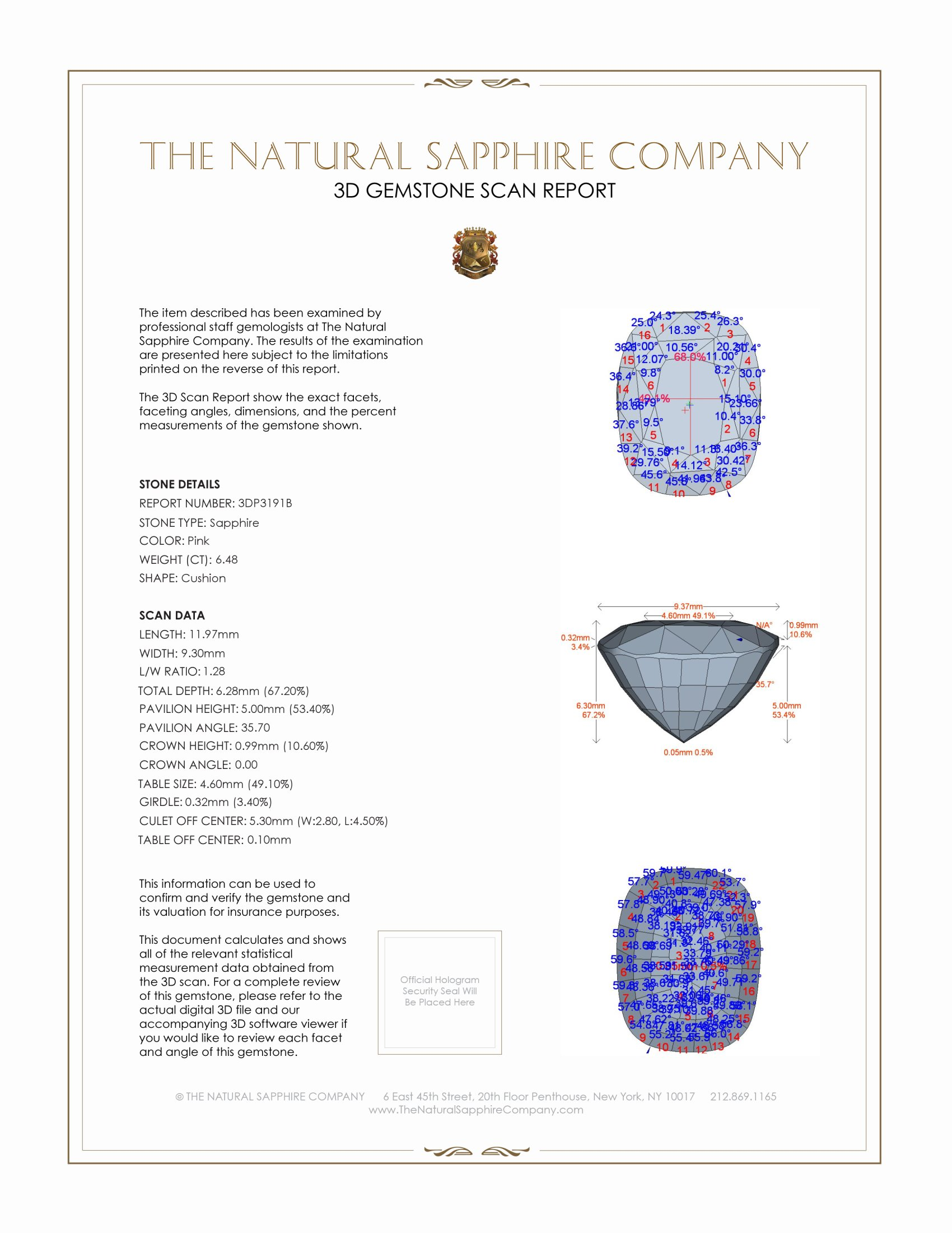 Natural Pink Sapphire P3191 Certification 2