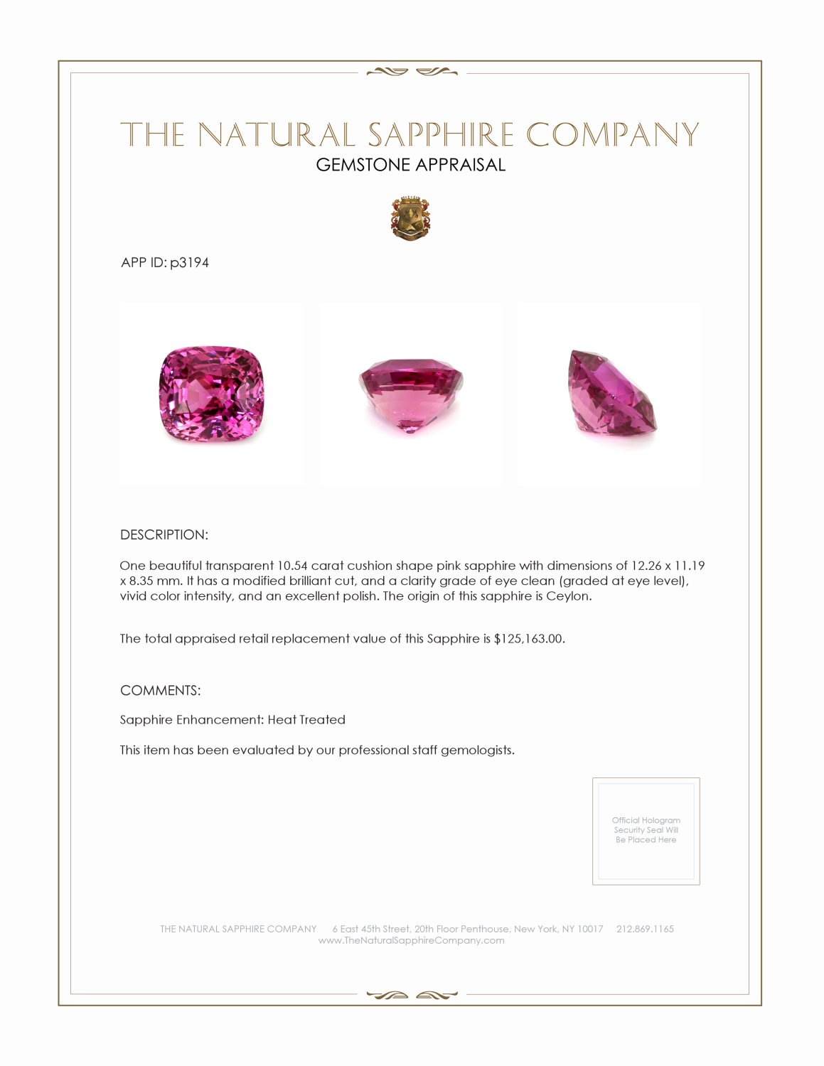 Natural Pink Sapphire P3194 Certification