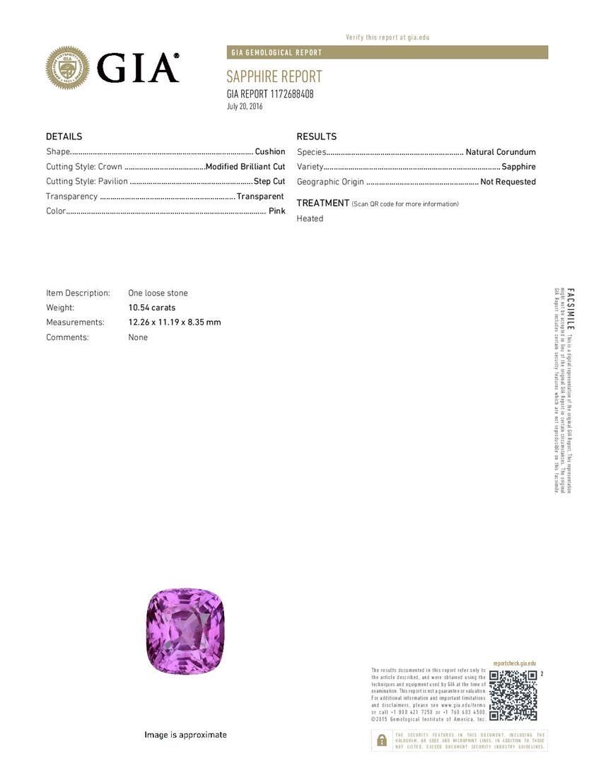 Natural Pink Sapphire P3194 Certification 3