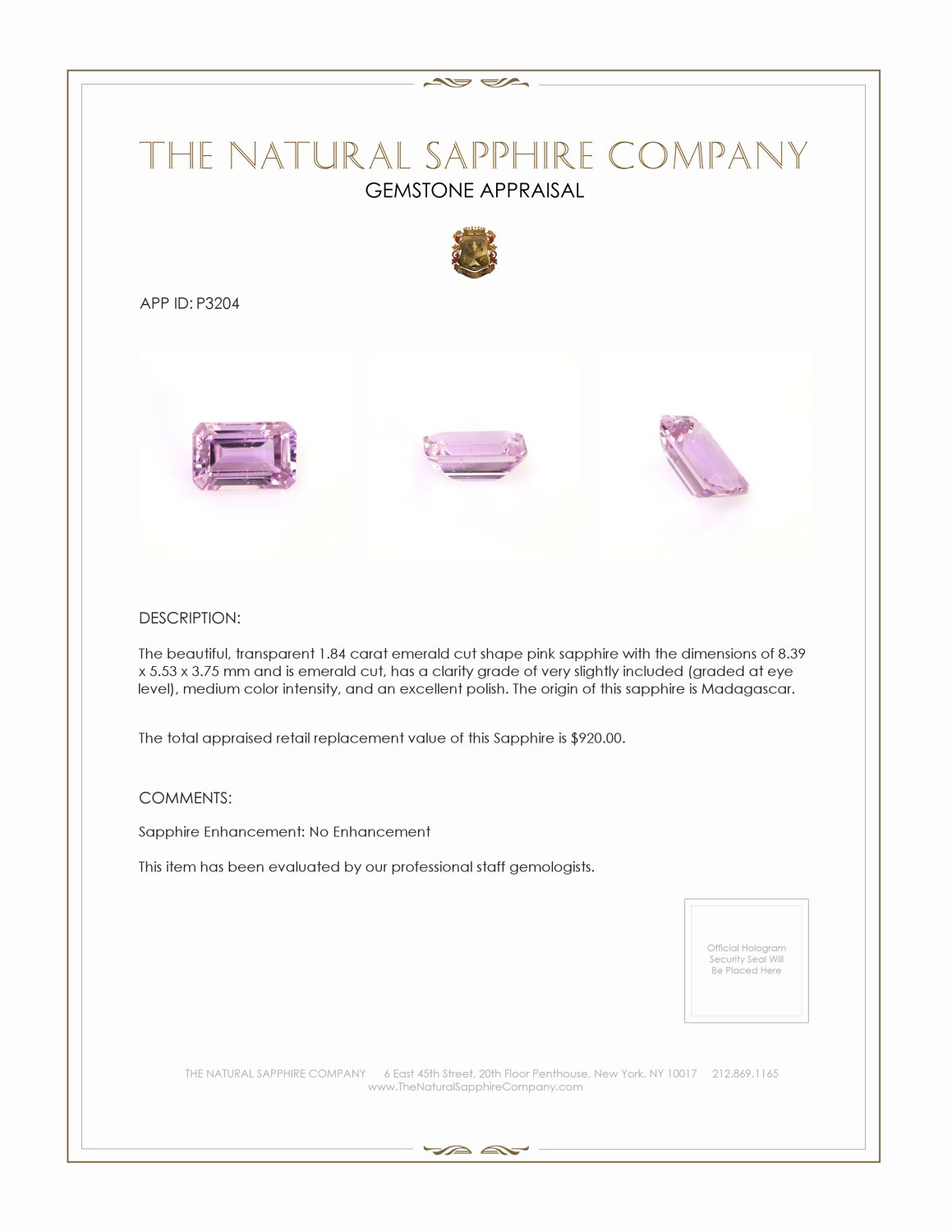 Natural Untreated Pink Sapphire P3204 Certification 3