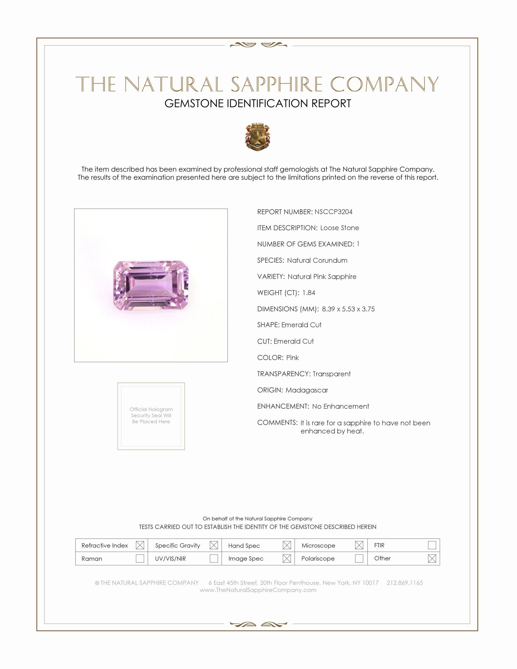 Natural Untreated Pink Sapphire P3204 Certification