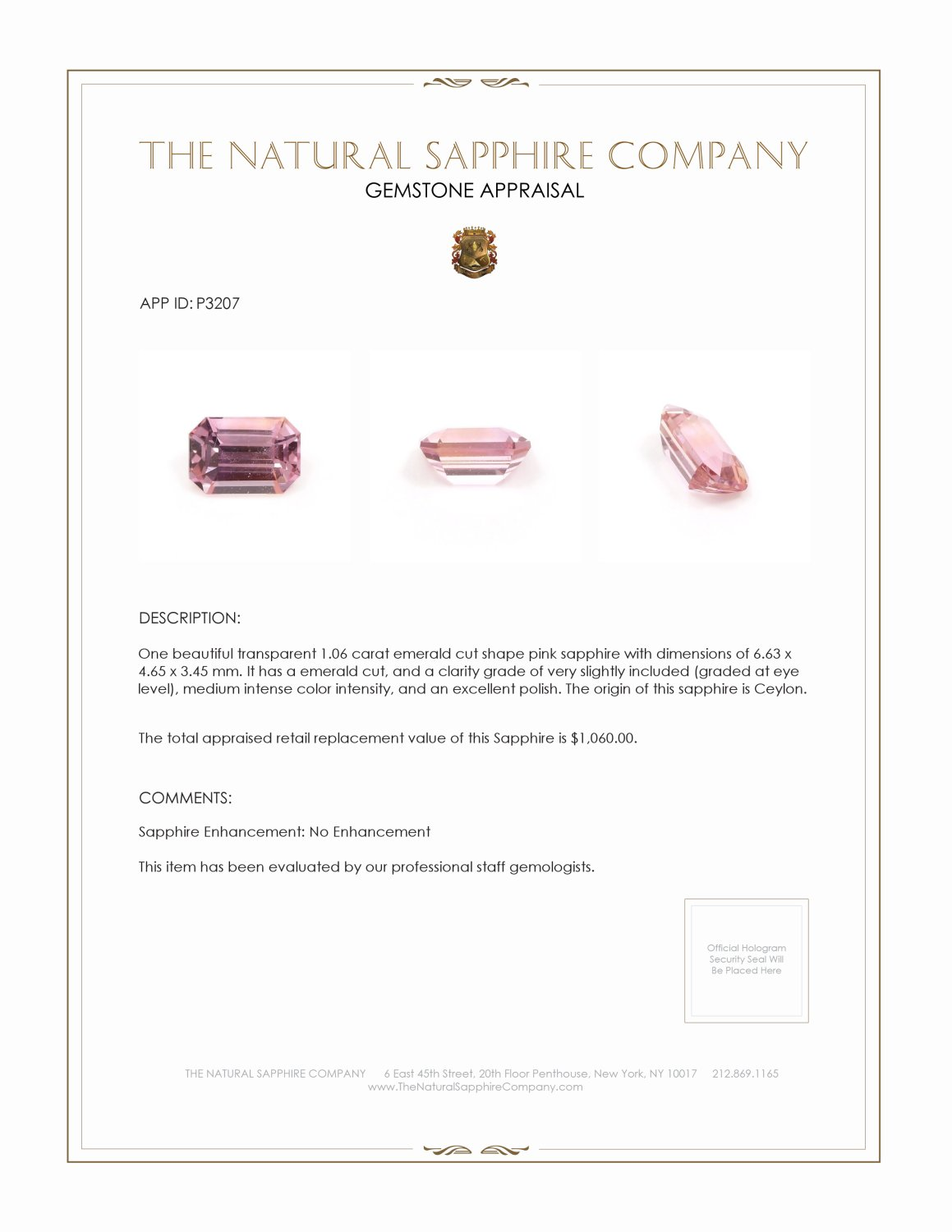 Natural Untreated Pink Sapphire P3207 Certification 3