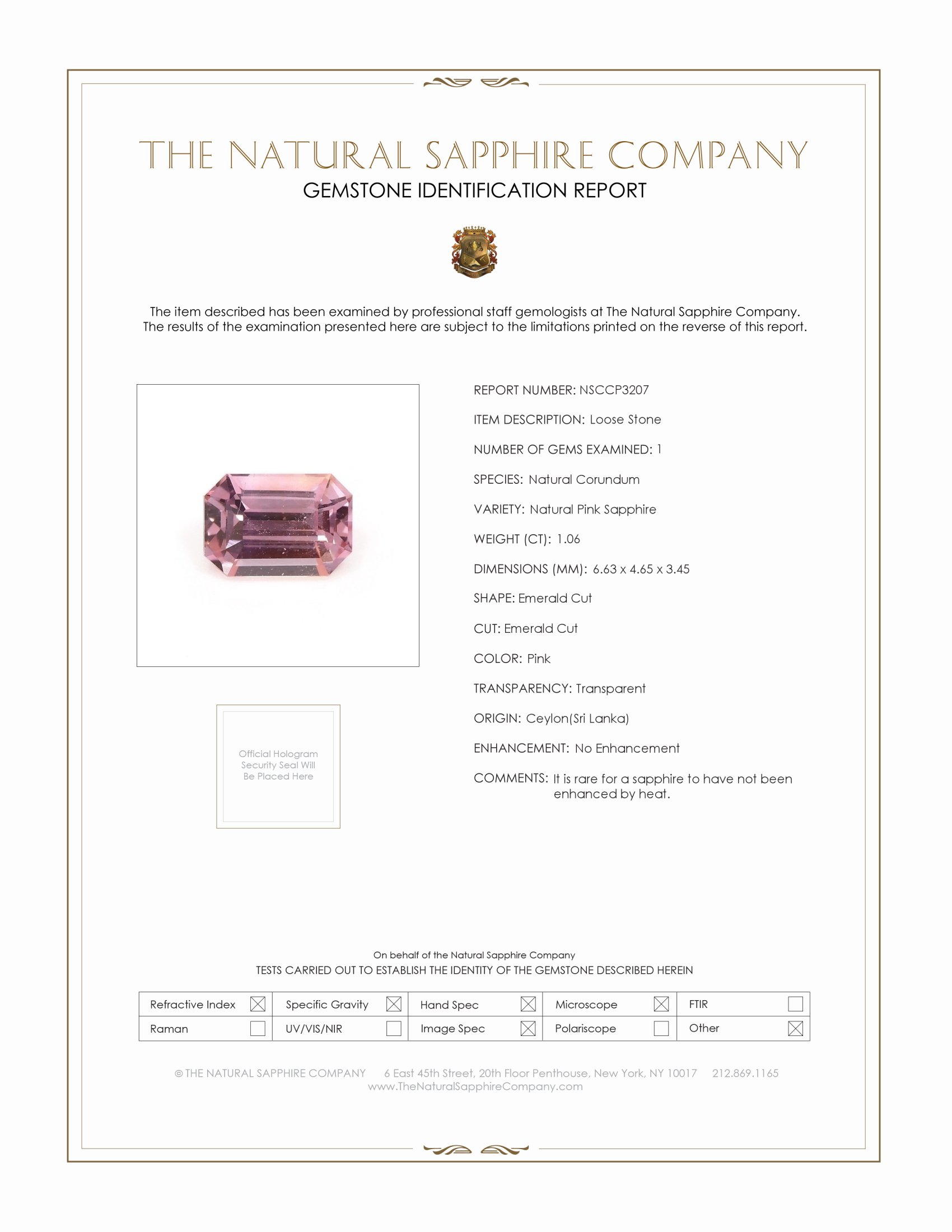 Natural Untreated Pink Sapphire P3207 Certification