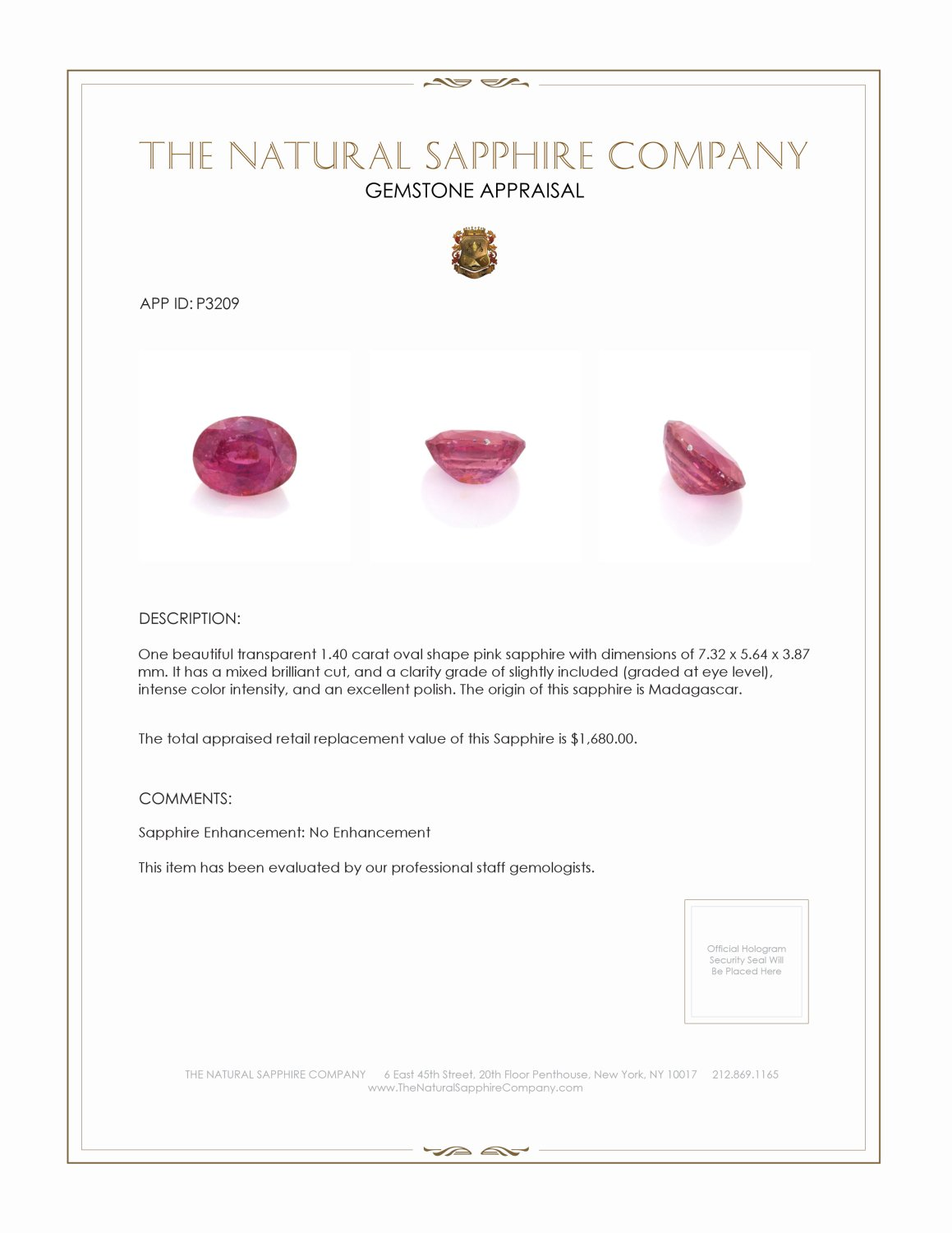Natural Untreated Pink Sapphire P3209 Certification 3