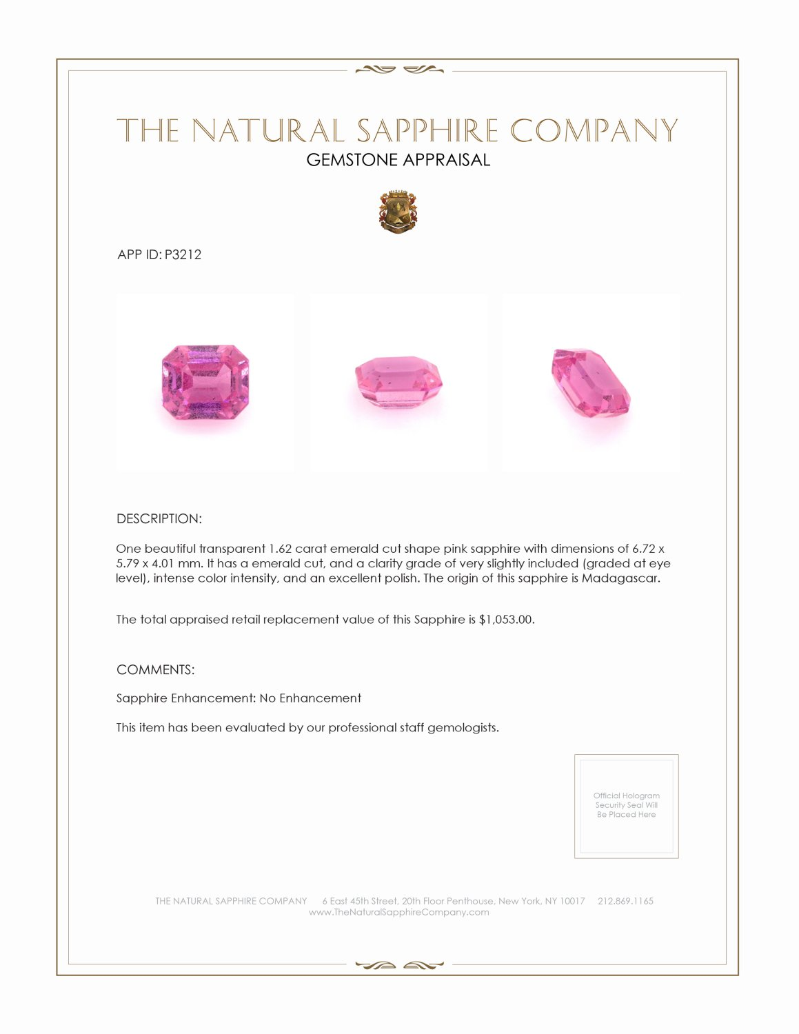 Natural Untreated Pink Sapphire P3212 Certification 3