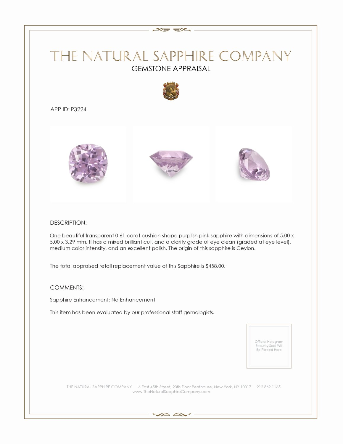 Natural Untreated Pink Sapphire P3224 Certification 3