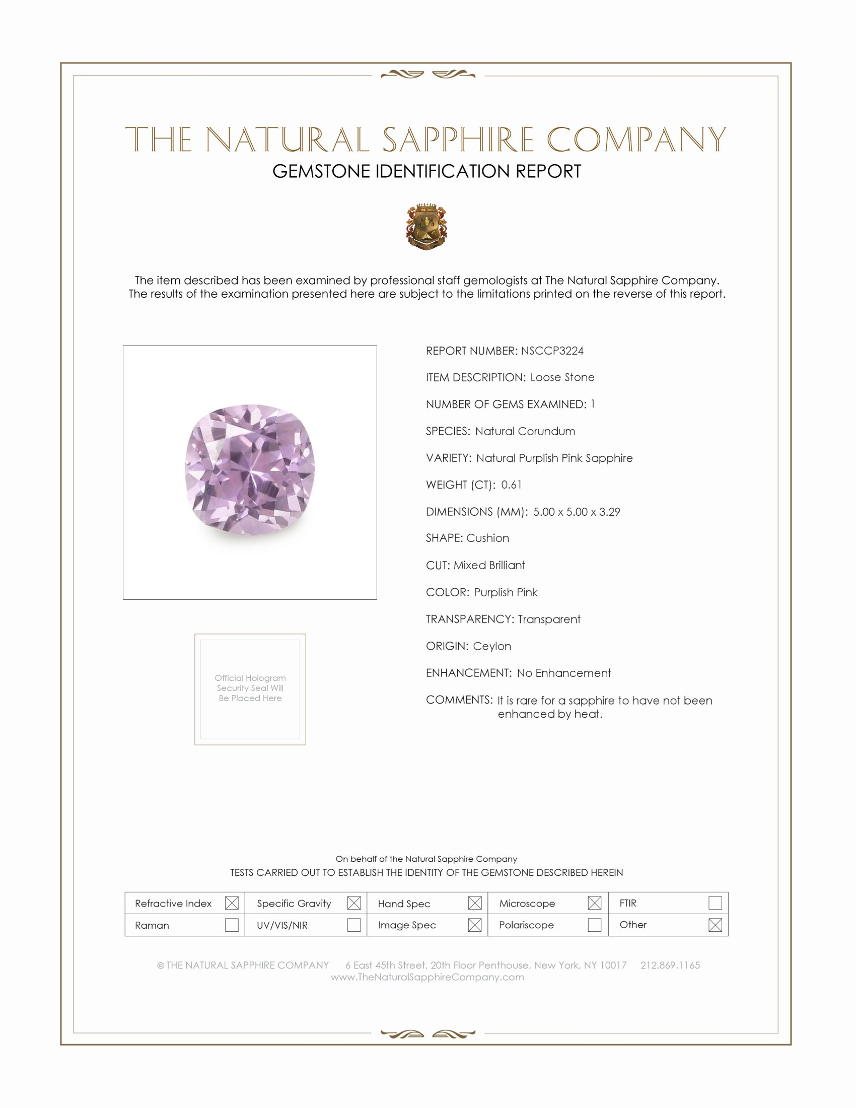 Natural Untreated Pink Sapphire P3224 Certification