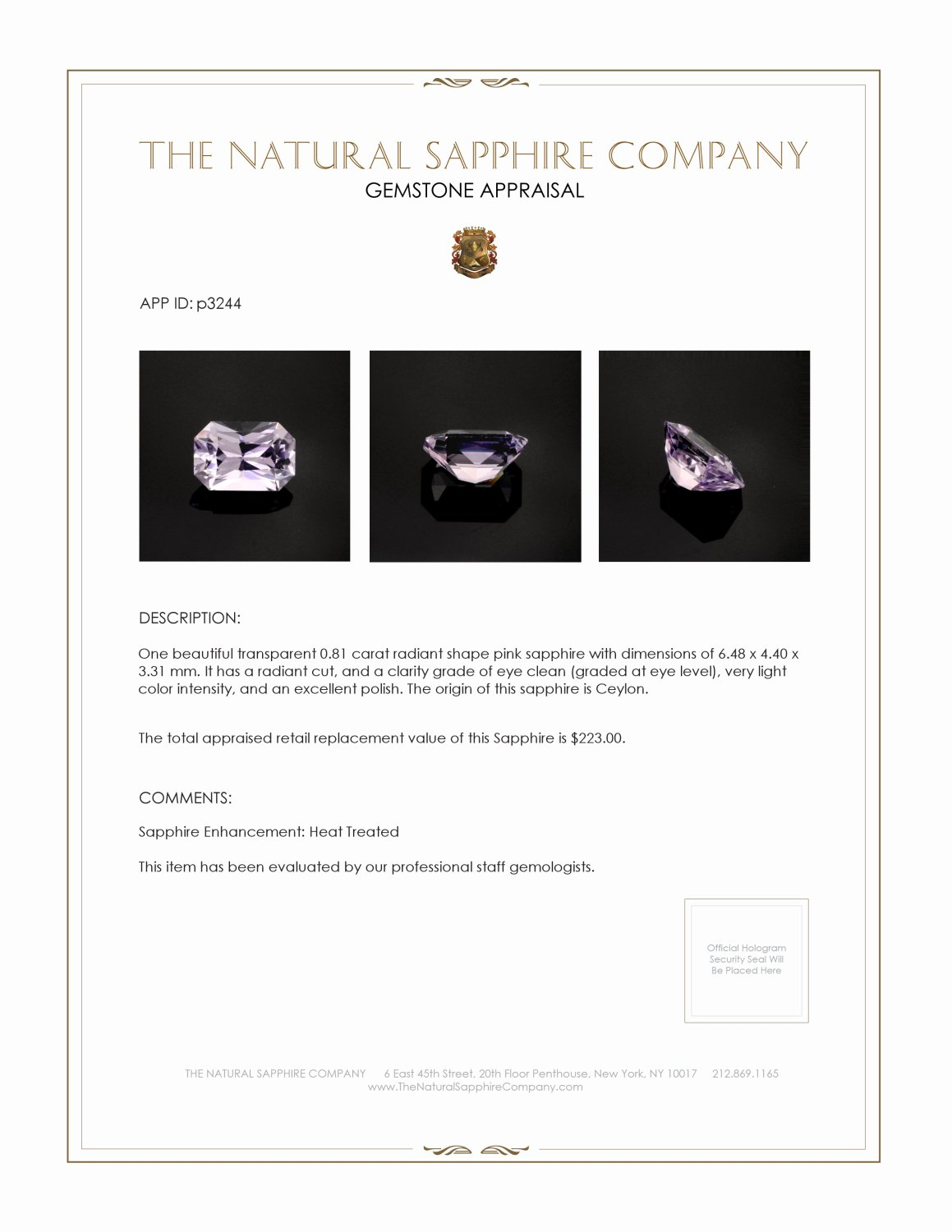 Natural Pink Sapphire P3244 Certification 3