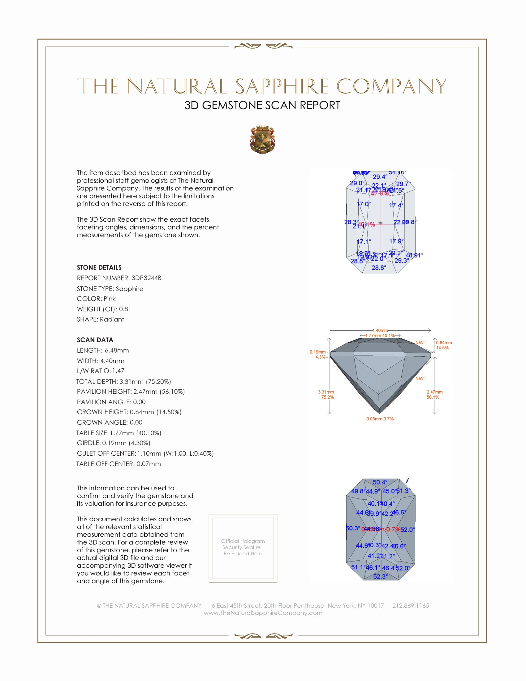 Natural Pink Sapphire P3244 Certification 2