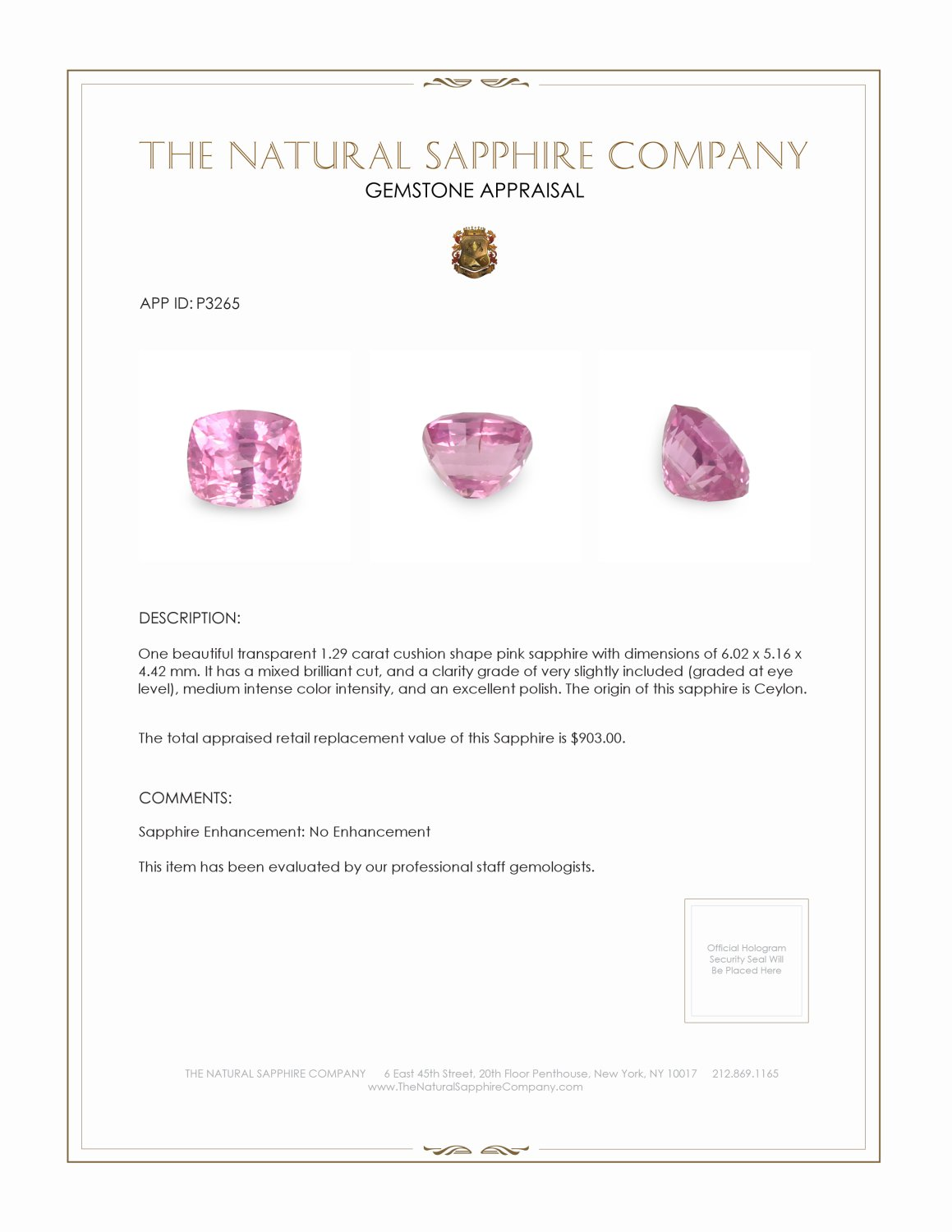 Natural Untreated Pink Sapphire P3265 Certification 3