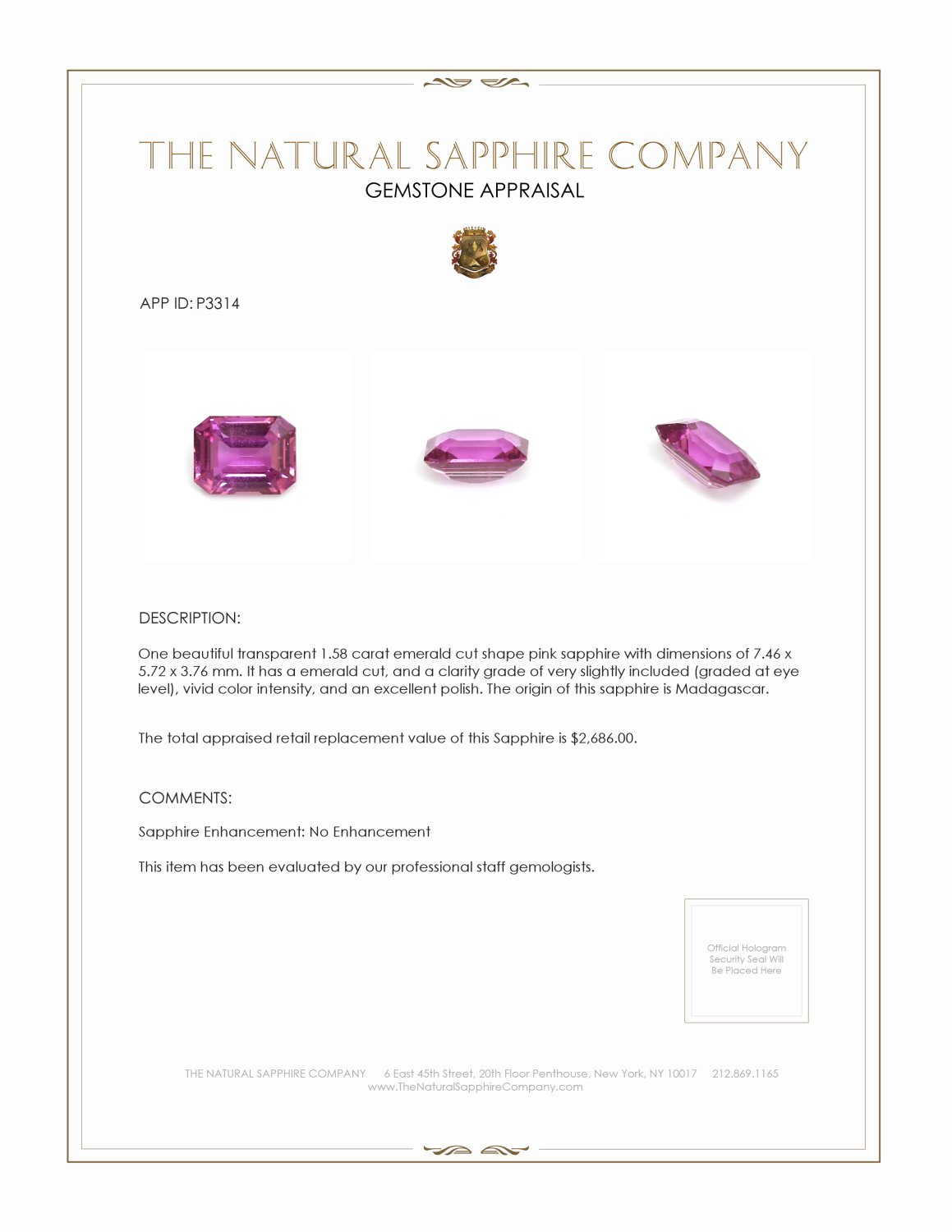 Natural Untreated Pink Sapphire P3314 Certification 3