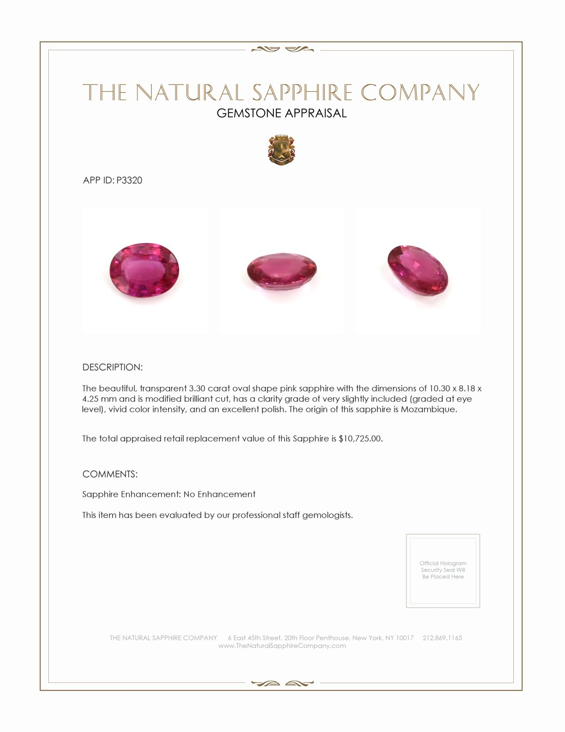 Natural Untreated Pink Sapphire P3320 Certification