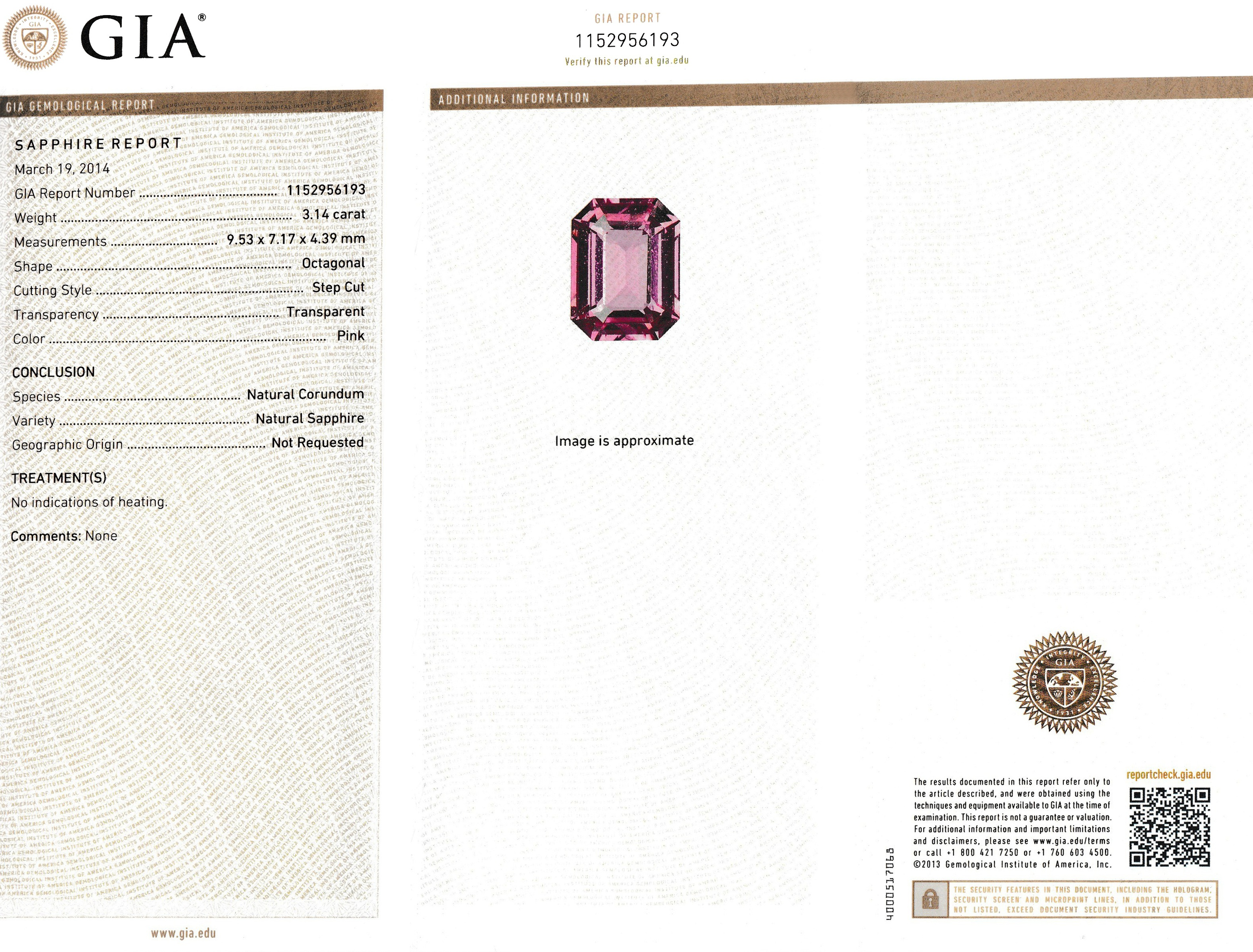 Natural Untreated Pink Sapphire P3335 Certification 3