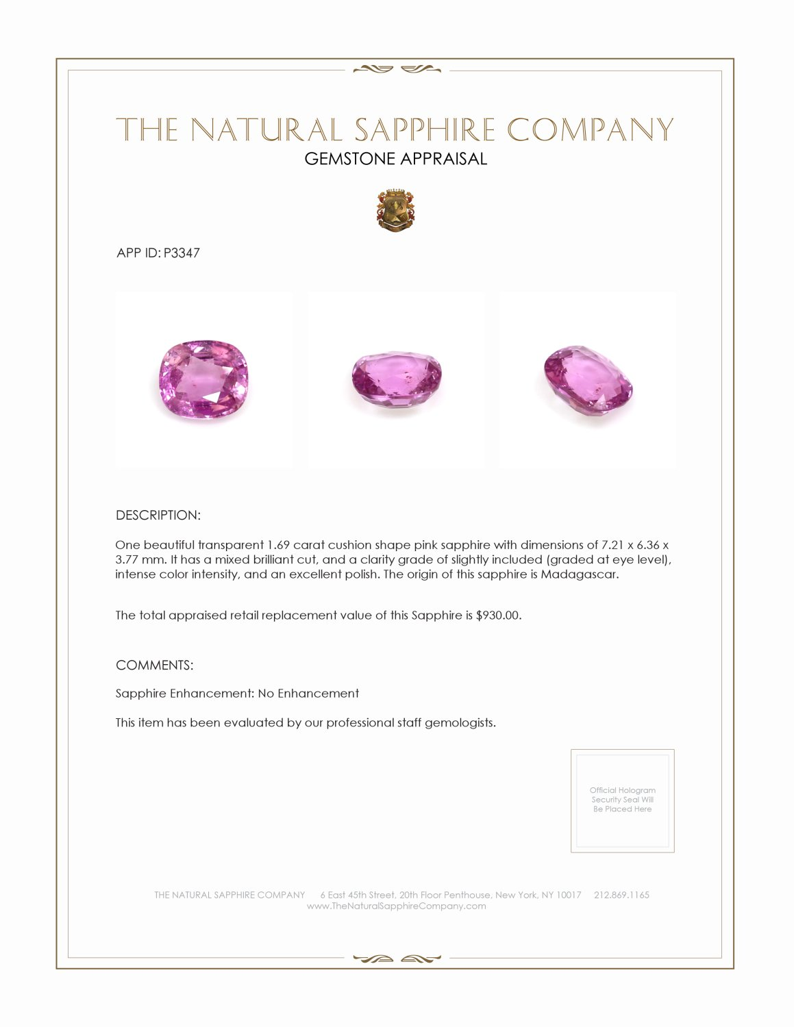 Natural Untreated Pink Sapphire P3347 Certification 3