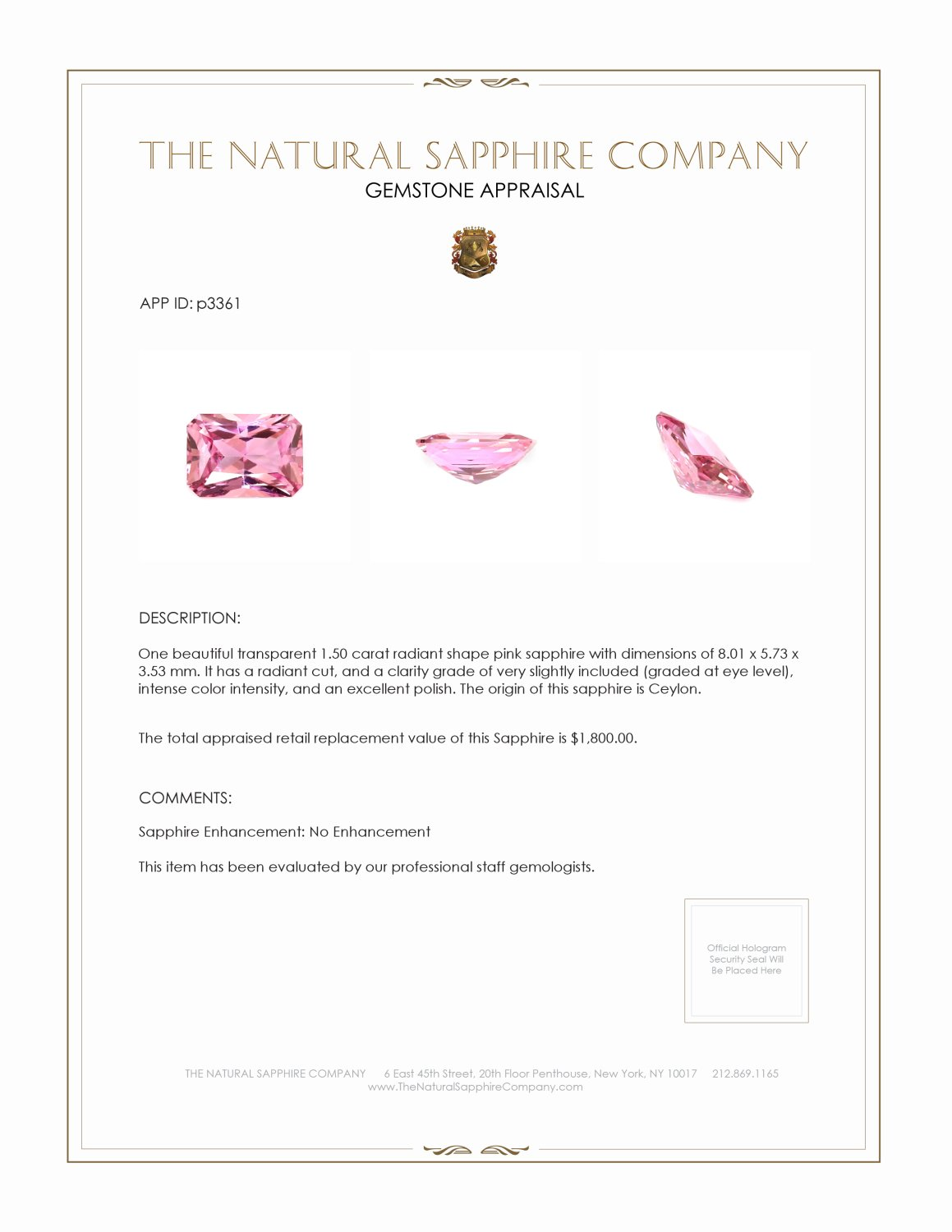 Natural Untreated Pink Sapphire P3361 Certification 3