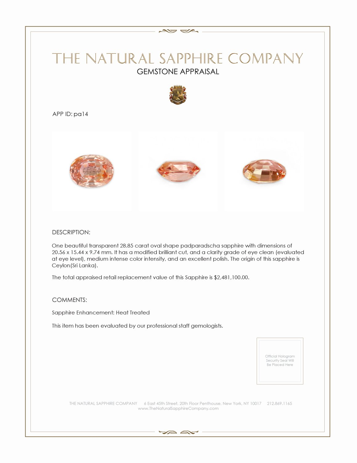 Natural Padparadscha Sapphire PA14 Certification