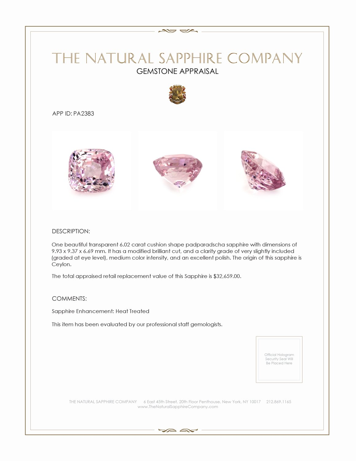Natural Padparadscha Sapphire PA2383 Certification