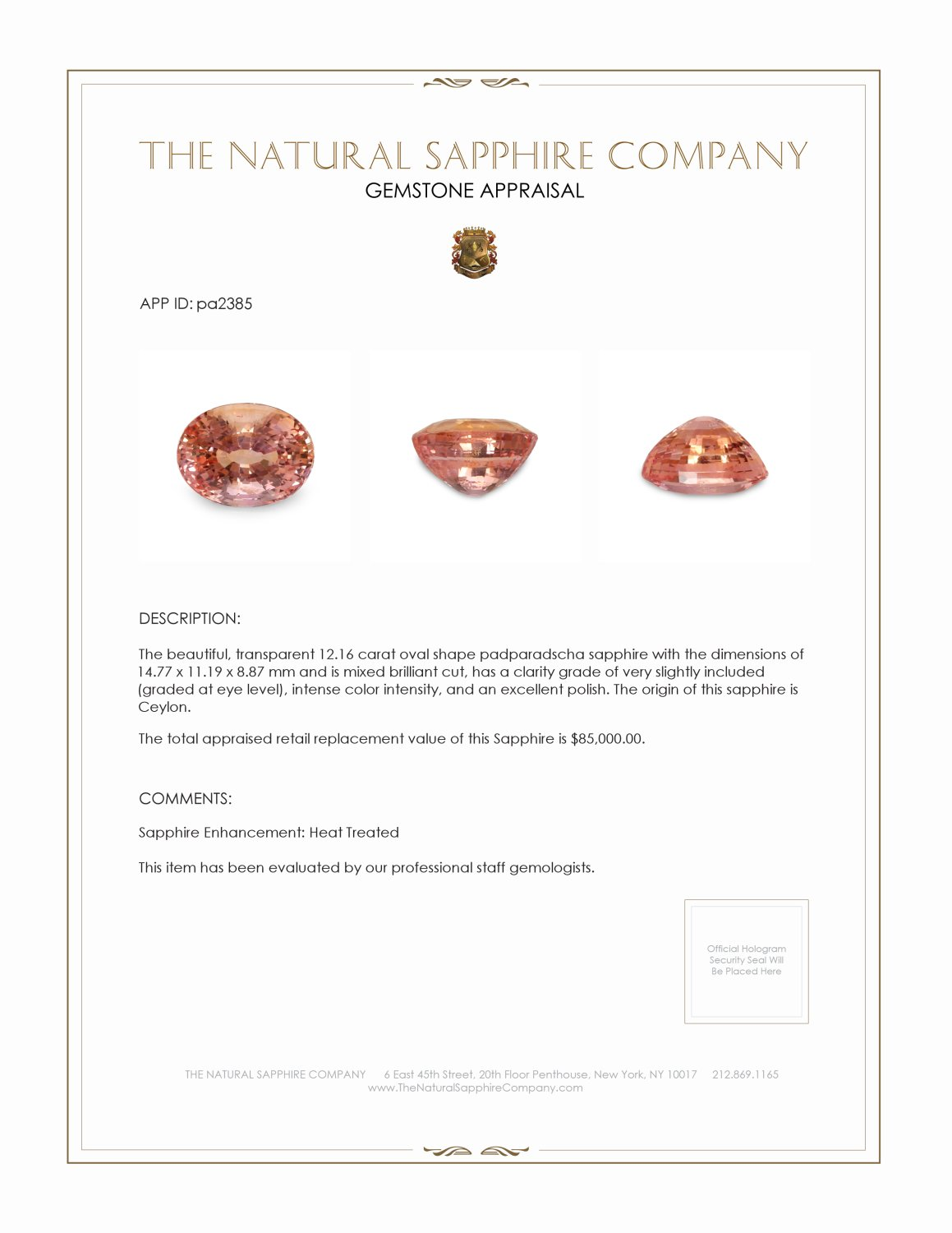 Natural Padparadscha Sapphire PA2385 Certification 4