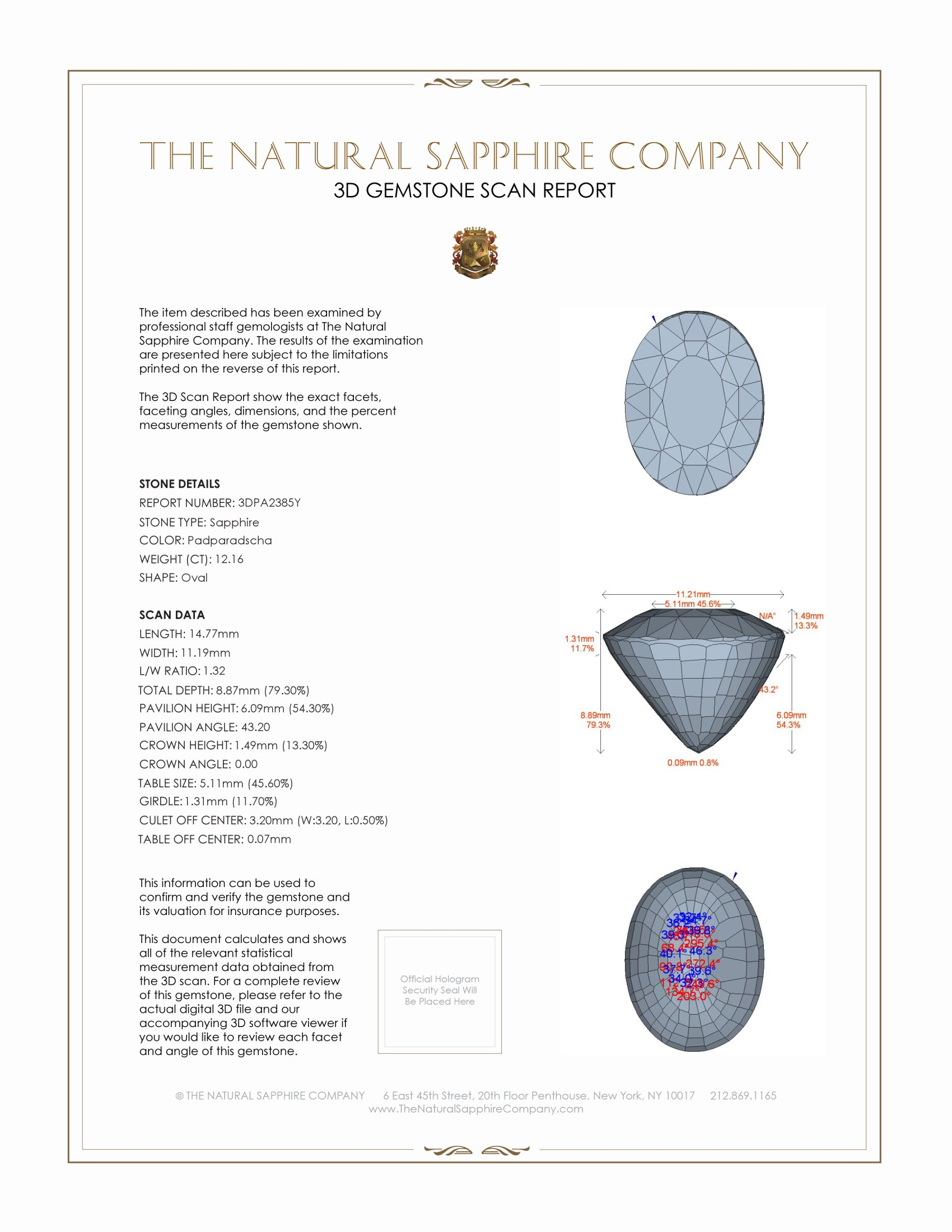 Natural Padparadscha Sapphire PA2385 Certification 2