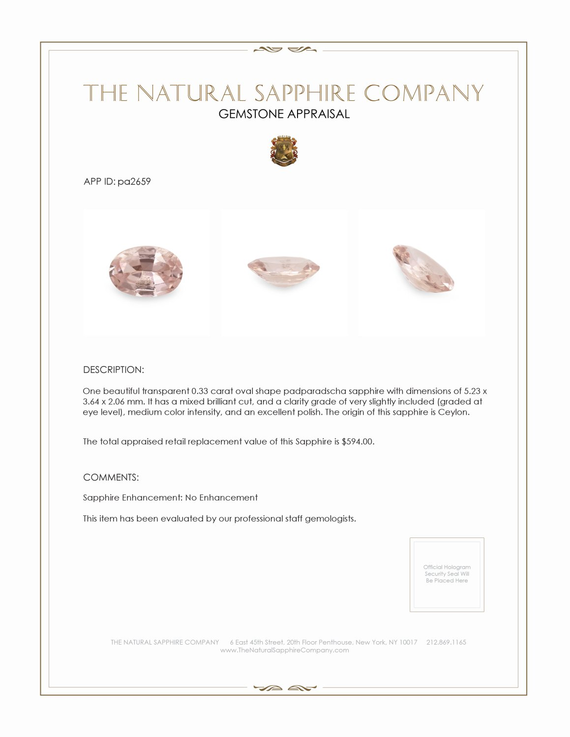 Natural Untreated Padparadscha Sapphire PA2659 Certification 3