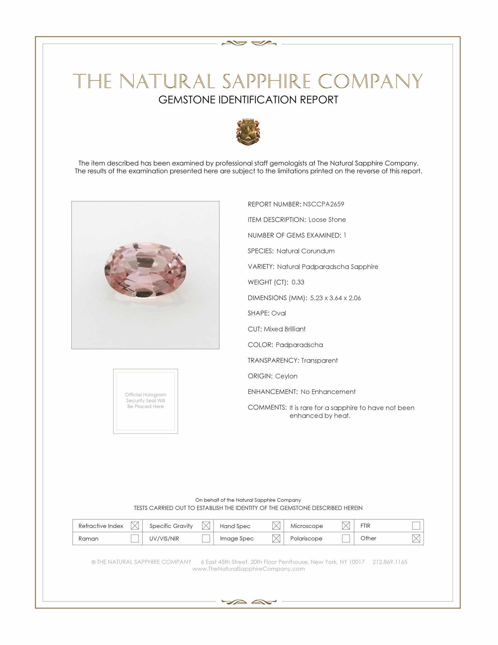 Natural Untreated Padparadscha Sapphire PA2659 Certification