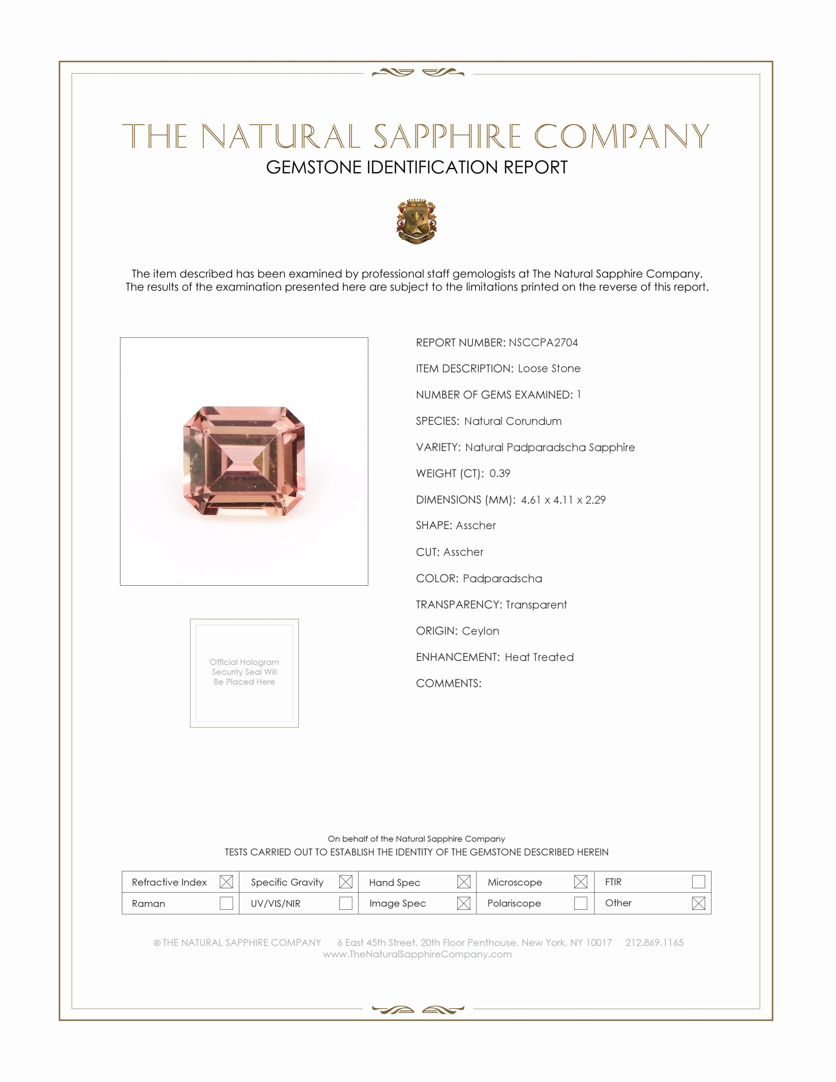 Natural Padparadscha Sapphire PA2704 Certification
