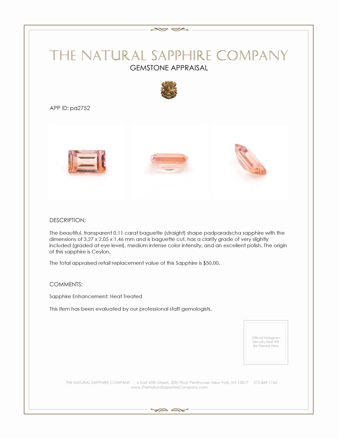 Natural Padparadscha Sapphire PA2752 Certification 3