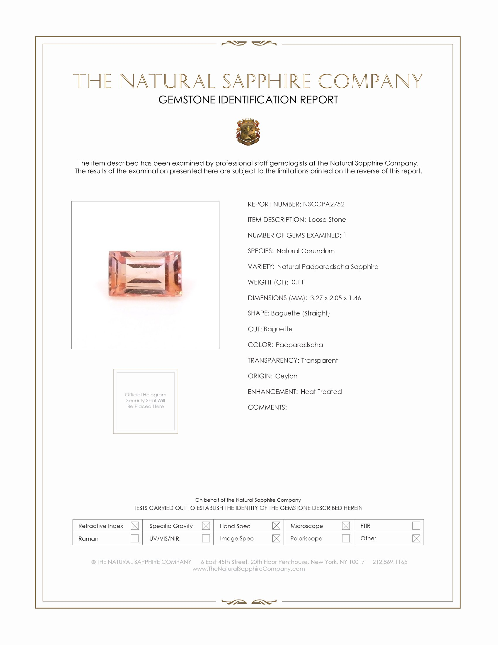 Natural Padparadscha Sapphire PA2752 Certification