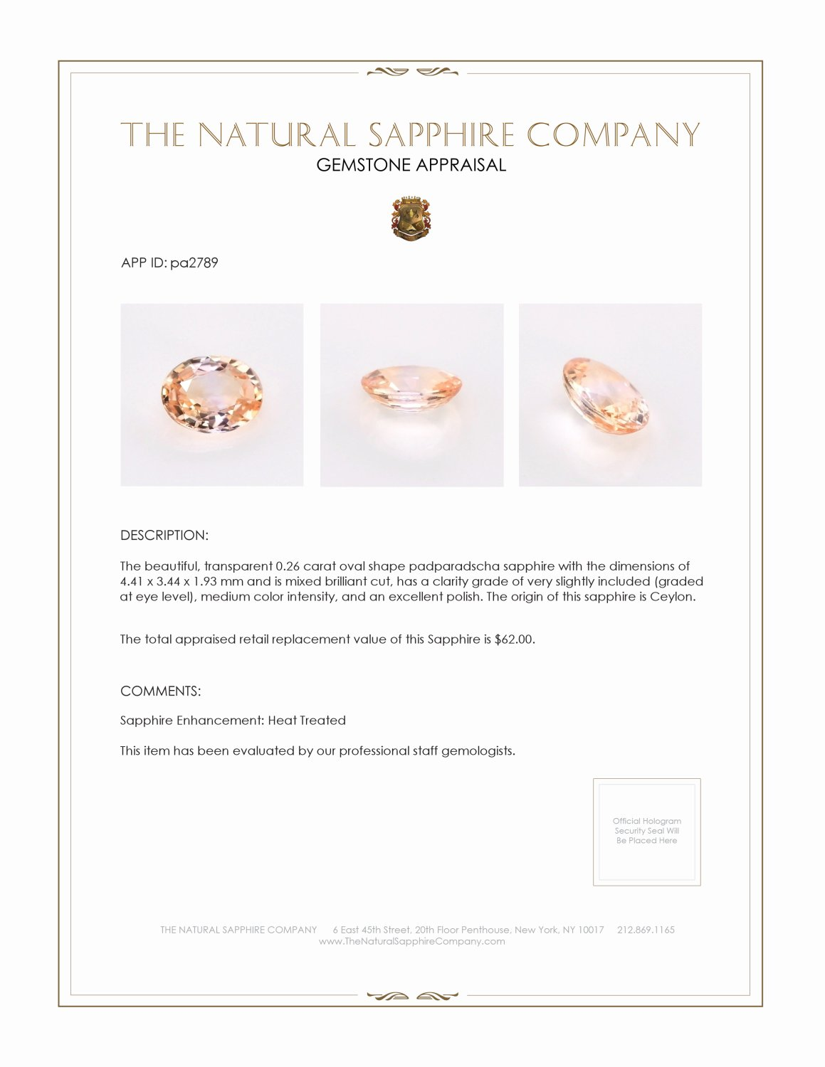 Natural Padparadscha Sapphire PA2789 Certification 3