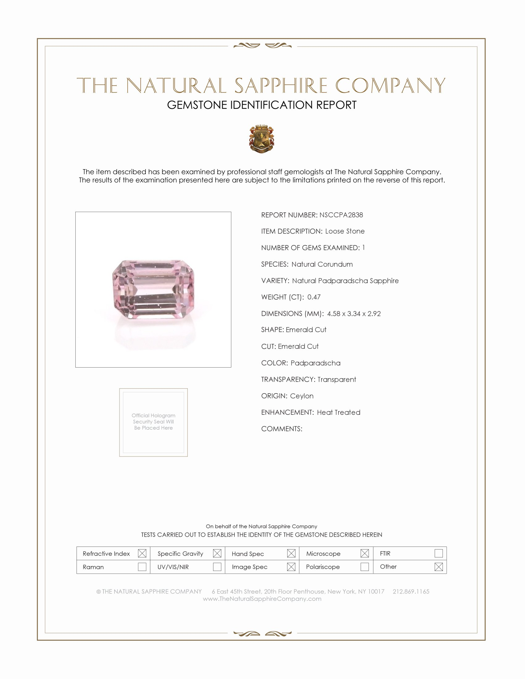 Natural Padparadscha Sapphire PA2838 Certification
