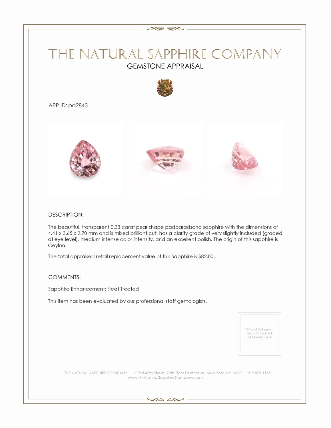 Natural Padparadscha Sapphire PA2843 Certification 3