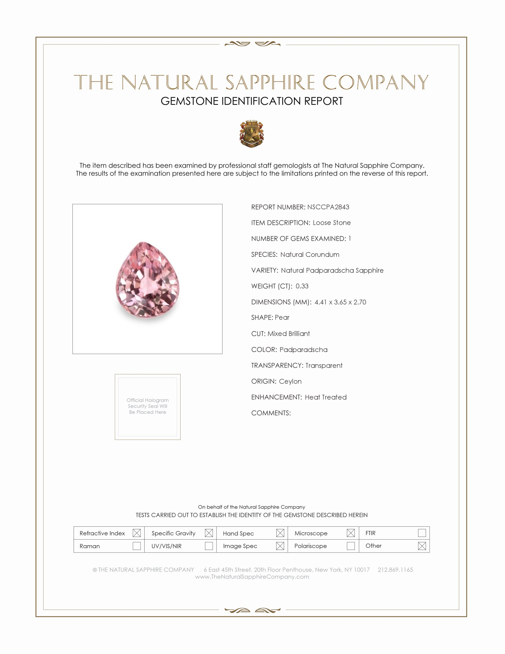 Natural Padparadscha Sapphire PA2843 Certification