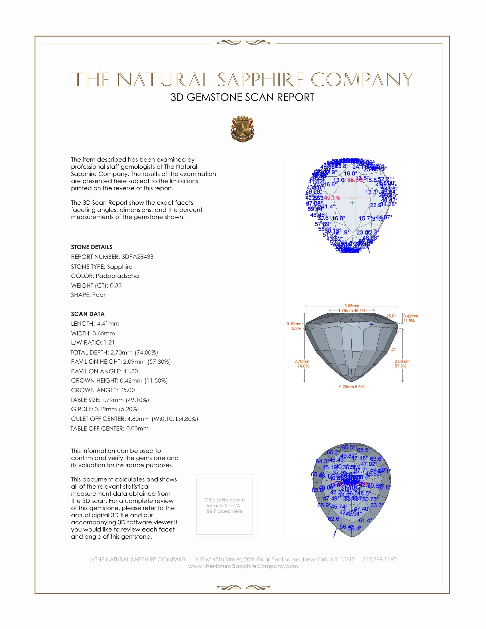 Natural Padparadscha Sapphire PA2843 Certification 2