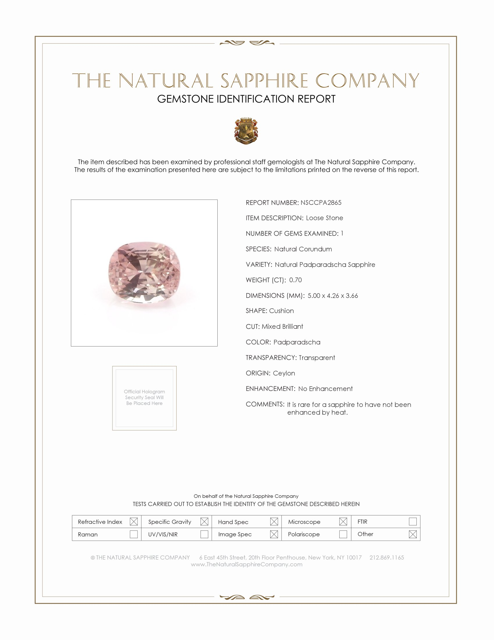 Natural Untreated Padparadscha Sapphire PA2865 Certification