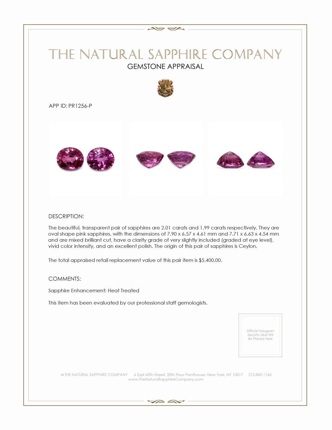 4.00ctw Natural Pink Sapphires  PR1256-P Certification 2