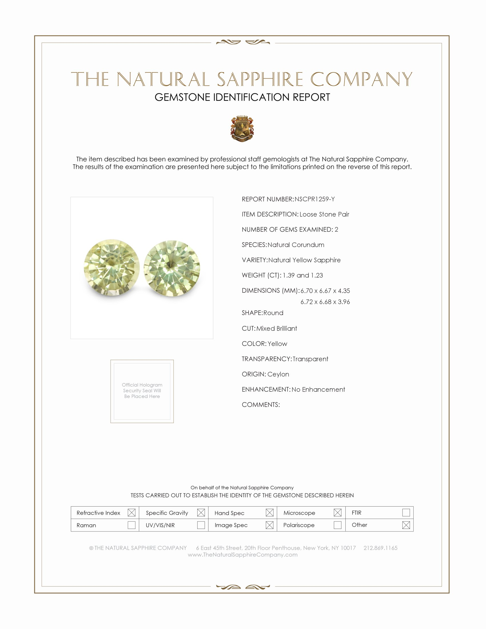 2.62ctw Natural Untreated Yellow Sapphires PR1259-Y Certification