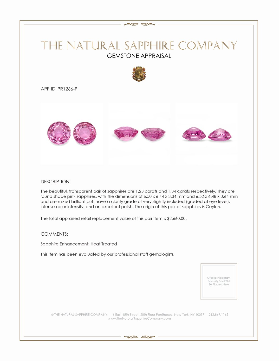 PAIR (H) PINK SAPPHIRE ROUNDS 2.57CTW PR1266-P Certification 2
